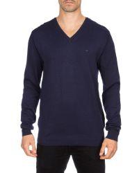 Eden Park - Blue V-neck Cotton Jumper for Men - Lyst