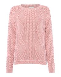 Tommy Hilfiger | Pink Cable Knit Sweater | Lyst