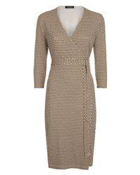 Jaeger | Black Jersey Printed Wrap Dress | Lyst