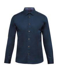 Ted Baker | Blue Raabin Satin Stretch Shirt for Men | Lyst
