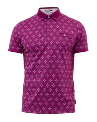 Ted Baker | Purple Fella Diamond Print Cotton Polo Shirt for Men | Lyst