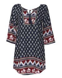 Izabel London | Blue Kaftan Style Dress With Woodblock Print | Lyst