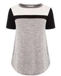 Oasis | Black Colourblock Yoke Tee | Lyst