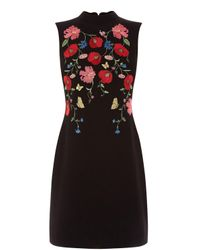 Oasis | Black Poppy Embroidered Shift Dress | Lyst