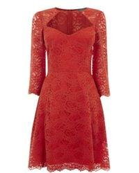 Oasis | Orange Lace Sleeve Skater Dress | Lyst