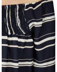 Izabel London - Blue Striped Frill Sleeve Top - Lyst