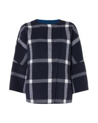 Marella Blue Pamir Reversible Check Coat
