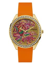 Guess | Orange W0960l2 Ladie`s Silicone Strap Watch | Lyst