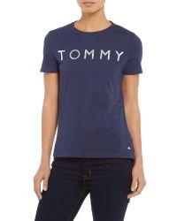 Tommy Hilfiger Blue Printed Logo T-shirt