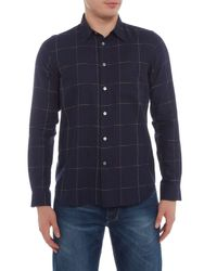 PS by Paul Smith Blue Tailored Fit Cycle Stripe Check Shirt for men