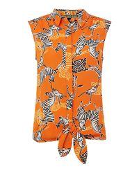 Biba - Orange Zebra Monkey Tie Front Blouse - Lyst