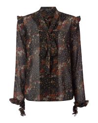 Label Lab - Black Ruffle Printed Blouse - Lyst