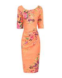 Jolie Moi Orange Floral Print Half Sleeved Shift Dress