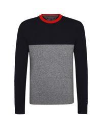 Tommy Hilfiger Black Mouline Colourblock Sweater for men