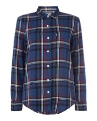 Levi's - Blue Wt Checked Boyfriend Shirt With Pocket for Men - Lyst