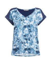 Calvin Klein - Blue Casual Woven Top In Indigo Flower Aop - Lyst