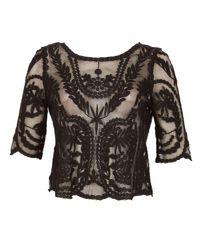 Izabel London Black Embroidered Mesh Top