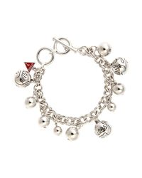 Guess - Metallic Rhodim Bauble Bracelet - Lyst