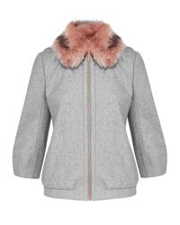 Ted Baker Gray Robley Wool And Cashmere-blend Faux Fur Bomber