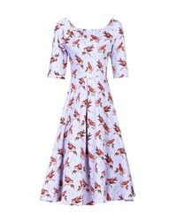 Jolie Moi Purple Floral Print Half Sleeved Swing Dress