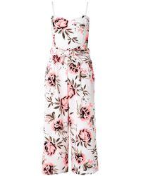Quiz Multicolor Cream And Coral Culotte Jumpsuit