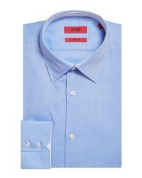 HUGO Blue Elwin Regular Fit Oxford Contrast Collar Shirt for men