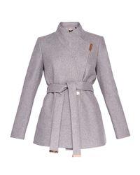 Ted Baker - Gray Keyla Short Wrap Cashmere-blend Coat - Lyst