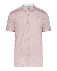 Ted Baker Pink Men's Gudvu Geo Print Cotton Shirt for men