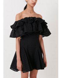 House of Holland - Black Broderie Off The Shoulder Dress - Lyst