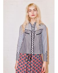 House of Holland - Blue Paneled Striped Cotton-poplin Shirt - Lyst