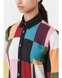 House of Holland - Multicolor Color-block Brushed Woven Shirtdress - Lyst