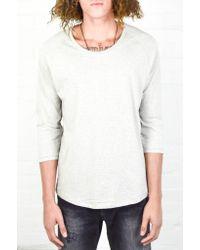 Nudie Jeans | Gray Grey Melange Quarter Sleeve Tee for Men | Lyst
