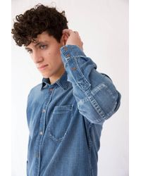 Nudie Jeans   Blue Henry Shirt for Men   Lyst