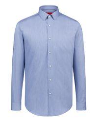 HUGO Blue Striped Slim-fit Shirt In Satin-finish Cotton for men