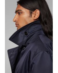 BOSS Blue Relaxed-fit Coat In Water-repellent Fabric With Belt for men
