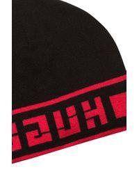HUGO Black Reverse-logo Beanie Hat In A Jacquard Knit for men
