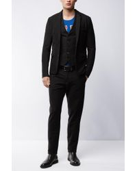 BOSS Orange - Black Slim-fit Waistcoat In Denim Jersey for Men - Lyst