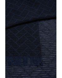 BOSS Orange | Blue Jacquard Scarf In Soft Cotton for Men | Lyst