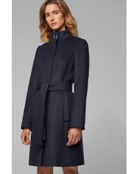 BOSS Blue Tie-waist Coat In Italian Virgin Wool With Cashmere