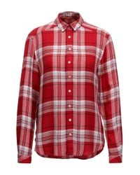 BOSS Red Relaxed-fit Glen Plaid Blouse