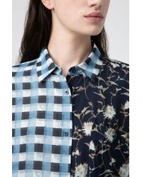 HUGO Yellow Relaxed-fit Tunic Blouse With Check And Floral Prints