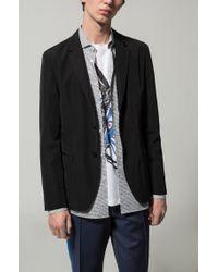 HUGO Black Slim-fit Jacket In Water-repellent Fabric for men