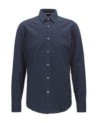 BOSS Blue Regular-fit Printed Dobby Cotton Shirt for men
