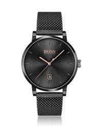 Montre plaquée noire avec cadran noir et bracelet en maille milanaise BOSS by Hugo Boss pour homme en coloris Black