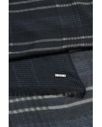 BOSS - Blue Cotton Silk Plaid Scarf | T-canto for Men - Lyst