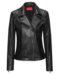 HUGO Black Regular-fit Leather Jacket With Detachable Sleeves