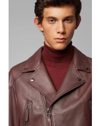 BOSS Red Short-length Biker Jacket In Nappa Leather for men