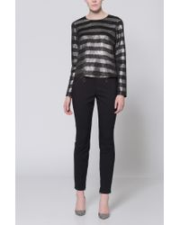 HUGO Black Metallic-striped Top With Long Sleeves