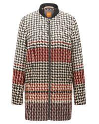 BOSS Orange - Multicolor Regular-fit Coat In Houndstooth Jacquard - Lyst