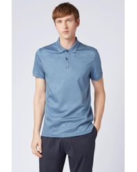 BOSS Blue Slim-fit Polo Shirt In Interlock Cotton With Contrast Details for men
